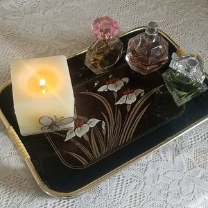 Black Floral Vanity or Accent Tray